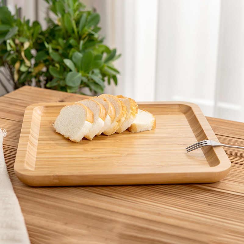 Forma quadrada Pan De Bambu Prato de Frutas Pratos Pires Bandeja de Chá Sobremesa Jantar Prato de Pão