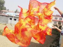 ขายส่งTie Dye Pure Silk Veilsจีนแบบดั้งเดิมไม้ไผ่ยาวพัดลมสำหรับBellydancer Orientalเต้นรำจัดส่งฟรี