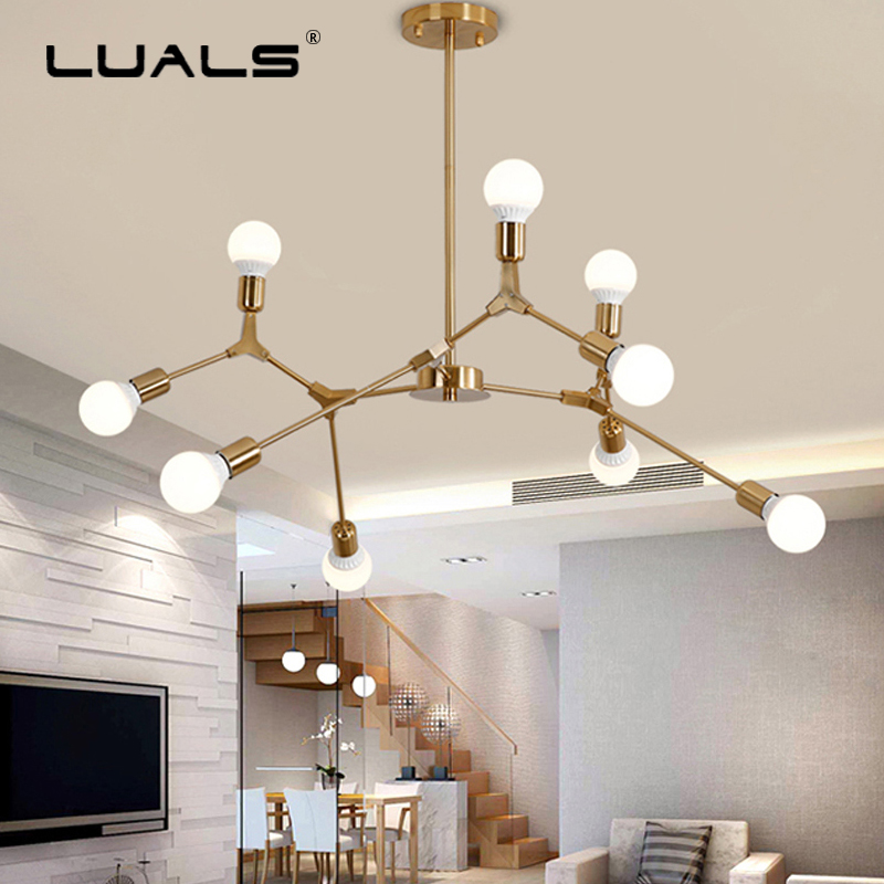 LUALS Nordic Chandelier Creative Suspension Luminaire LED Lamp Metal Adjustable Fashion Light Fixtures Bedroom Art Deco Lighting