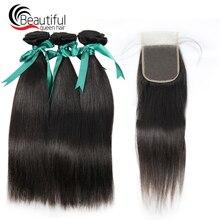 Красивые королевские волосы перуанские Виргинские волосы прямые 3 шт пучки с кружевом Закрытие 4x4 часть необработанные волосы расширение