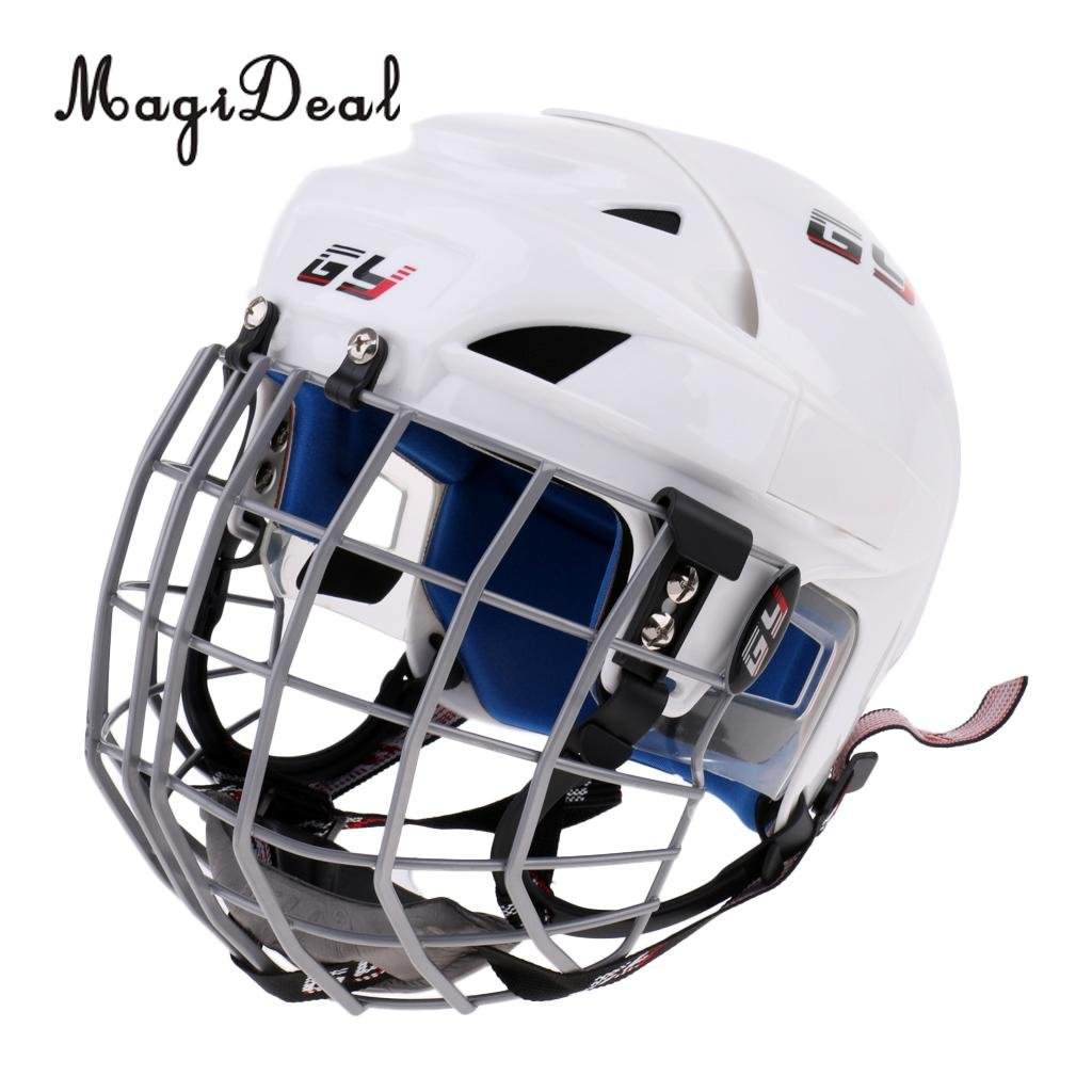 цена на MagiDeal Adjustable Unisex Adult Kids Ice Hockey Helmet & Face Guard Cage Combo - CE Approved - Impact Resistant & Lightweight