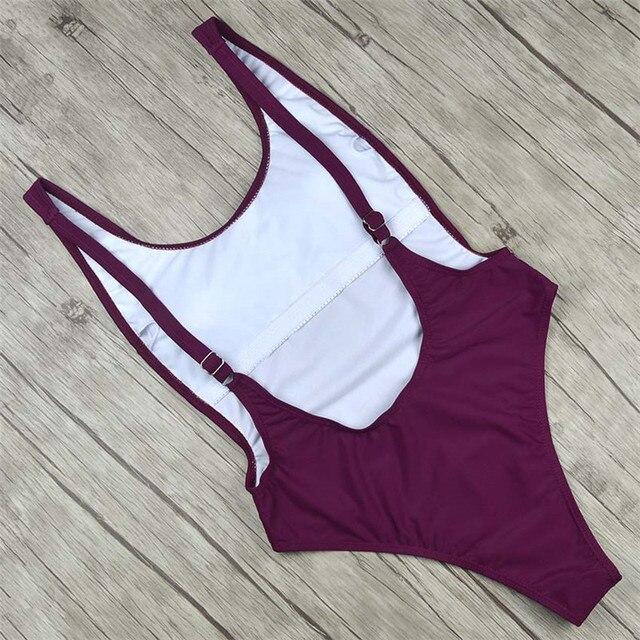 Thong 2018 Sexy One Piece Swimsuit Solid Female Black Swimwear Women Backless White Brazilian Monokini Bathing Suit XL 4
