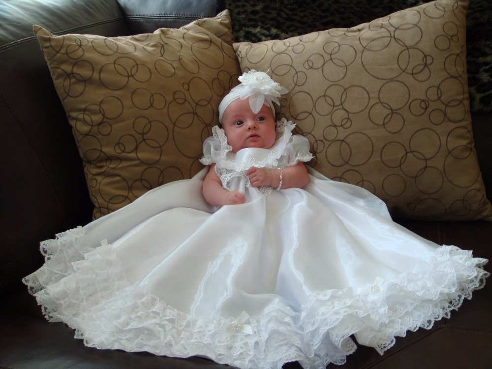 2018 New Baby Infant Handmade Christening Dress Baptism Gown Lace Satin White/Ivory With Headband Free Shipping