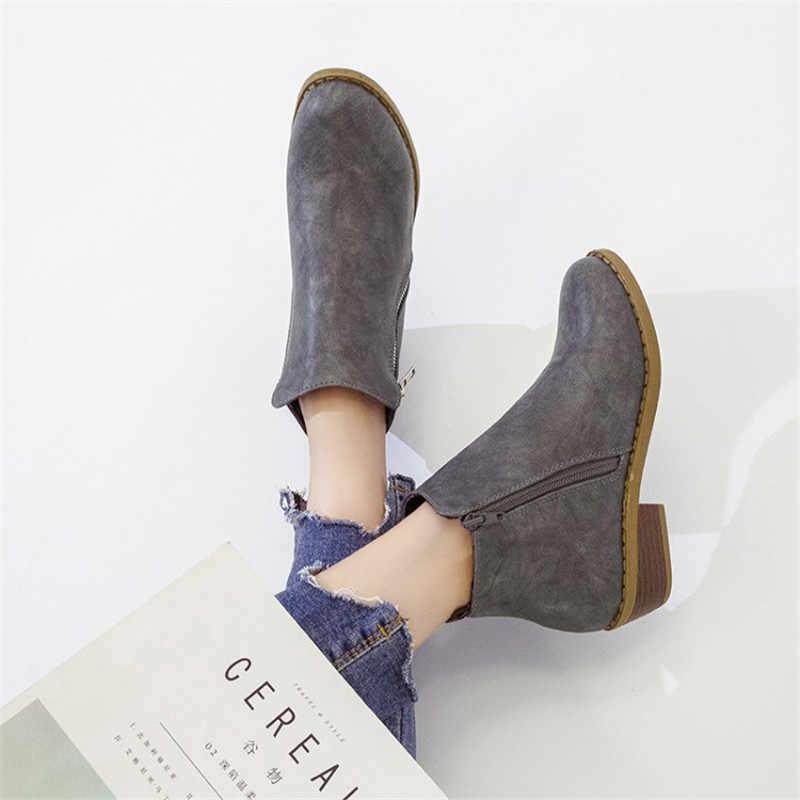 COOTELILI yarım çizmeler Kadınlar Için rahat ayakkabılar Kadın Botları pu deri düz ayakkabı Oxfords Kadın Fermuar Siyah Kahverengi 41 42 43