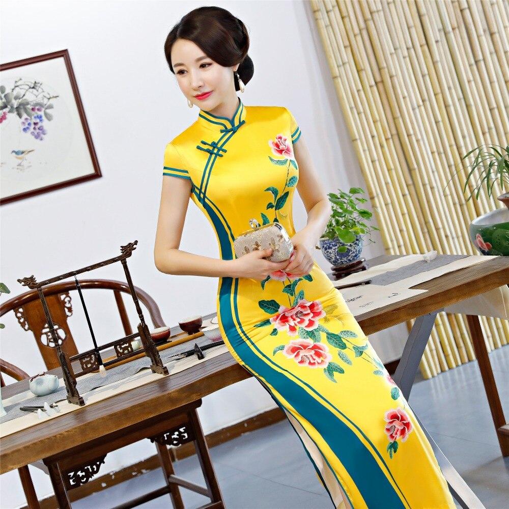 Rayón Formal Tradicional Collar Chino 5xl Verano 2 Mandarín M Tamaño Cheongsam Mujeres Vestido Nuevo 3 1 Qipao Novedad Más AP5Iw0q