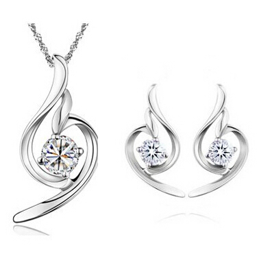 100 Silver 925 AAA Jewelry Sets for Women Soft Angle sets Solid Silver Free Shipping JN02BJE284B