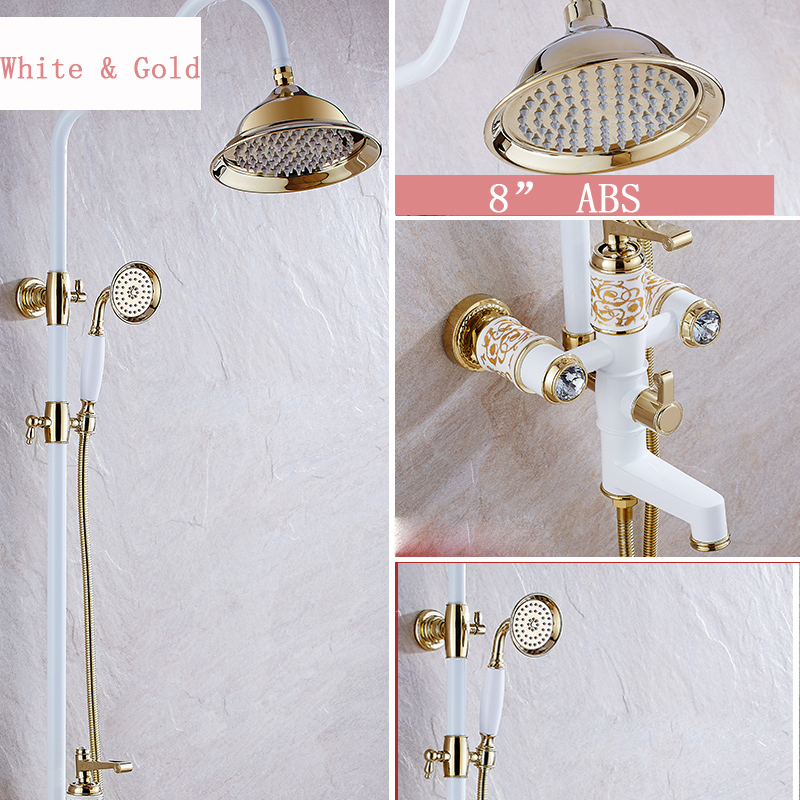 Luxury Golden & white Single Handle 8 Rainfall Shower Faucet Taps Wall Mounted with Hand Shower Bath and Shower Mixers luxury gold rain shower set wall mount golden white paint bath and shower faucet with hand shower bathroom mixe craner