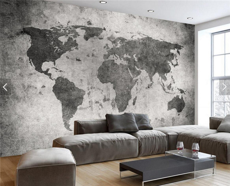 European Vintage Retro World Map Wall Bar Coffe Shop