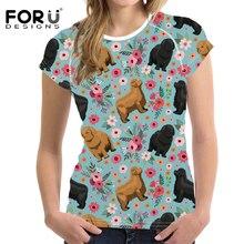 FORUDESIGNS T Shirt Women Funny Newfoundland Flower Printing T-shirt Female Fashion Short Sleeve Tee for Girls Cute Tops