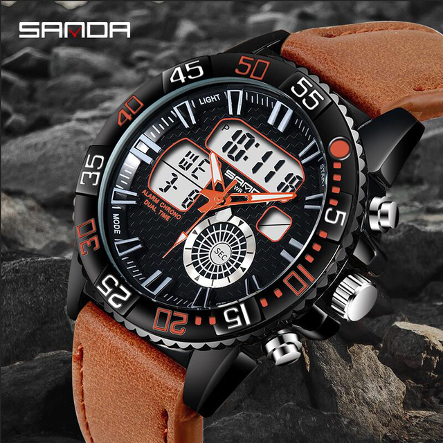 32e713bd4dc SANDA Men s Fashion Sport Watches Men Quartz Analog Date Clock Man Leather  Military Outdoor Waterproof Watch Relogio Masculino -in Sports Watches from  ...