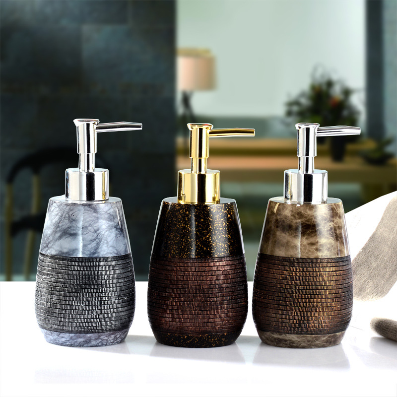 Natural Resin Liquid Soap Dispenser Luxury Brand Baroque Style Hand Soap Dispenser Bathroom Kitchen Shower Gel Press Pump Bottle