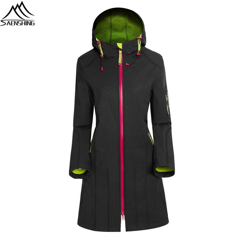 все цены на  SAENSHING brand long windbreaker windproof waterproof jacket women Rain jacket Sport camping hiking outdoor softshell jacket  в интернете