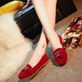 2016 Весна Конфеты Цвет Женщин Бахромой Лодка Обувь Металл Кисточкой Балетки Мокасины Поскользнуться на Мелкие плоские туфли Zapatos mujer