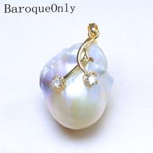 BaroqueOnly высокое качество натуральный пресноводный белый жемчуг барокко Уникальные Подвески AAAA циркон для женщин Подарки PO