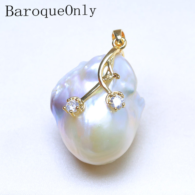 BaroqueOnly high quality natural freshwater WHITE baroque pearl unique pendants AAAA Zircon women gifts PO