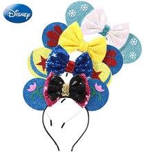 Замороженная повязка на голову Диснея Микки Минни Маус головной убор уши блестки девушки волос Cosply день рождения повязки для волос плюшевая детская игрушка-подарок