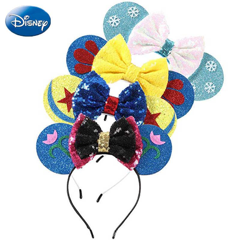 المجمدة ديزني عقال ميكي ميني ماوس غطاء الرأس رئيس آذان الترتر الفتيات الشعر Cosply عيد HairBands ألعاب من القطيفة طفل هدية