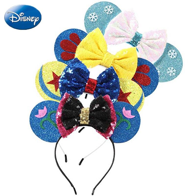 Frozen Disney Headband Mickey Minnie Mouse Headdress Head Ears Sequin Girls Hair Cosply Birthday HairBands Plush Toys Kid Gift