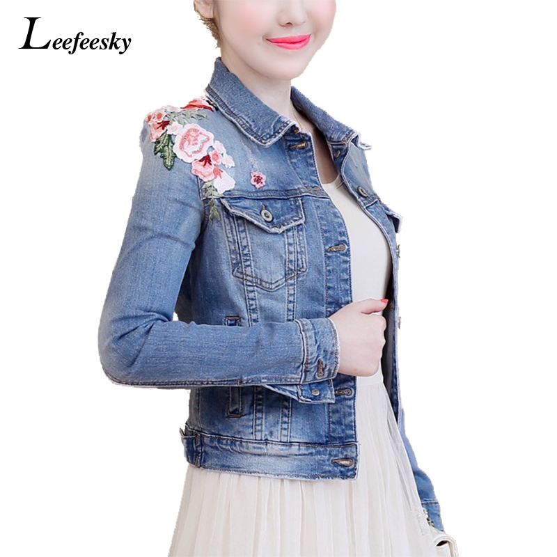 Floral Embroidery Women Jeans Coat Autumn 2017 New Arrival Slim Denim Jacket Light Washed Short Blue Basic Jackets Coat Outwear