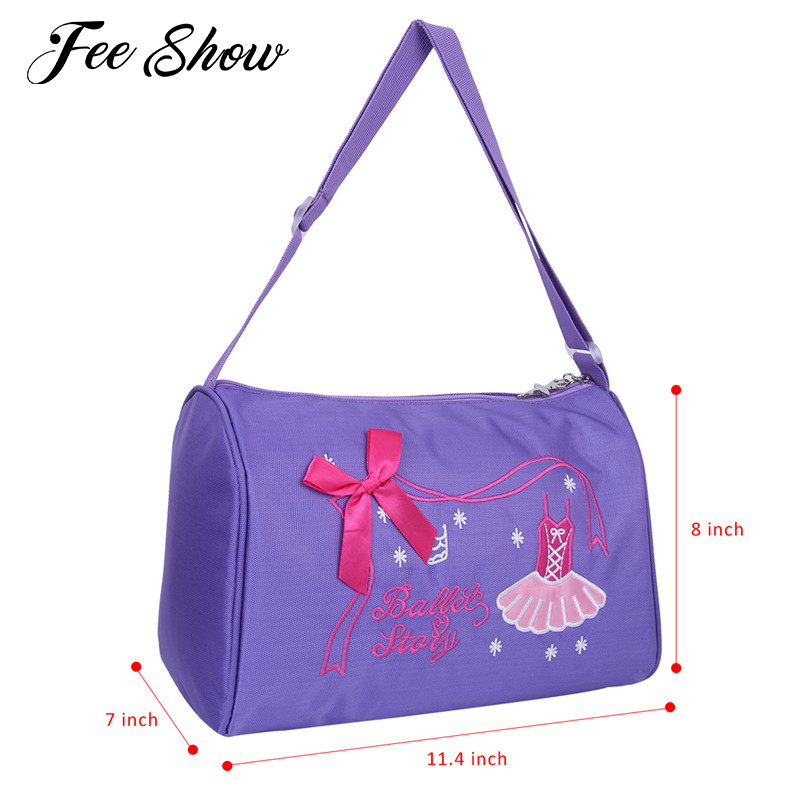 Feeshow Ballerina Ballet Bag Girls Dance Bag Adorable Ballet Dancer Shoulder Bag Duffel Ballet Bags for Girls Ballet Performance
