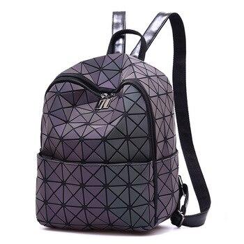 Badenroo Brand Luminous Backpack Geometric Women Small Backpacks For Teenage Girl Female Laser Diamond School Bag Mochila Bolsas