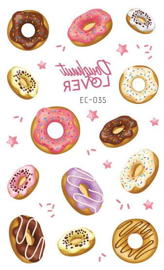Waterproof Temporary Tatoo Sticker Kids Fake Tattoo Donut Biscuits Tatouage Flash Tatto Tattoos Stickers For Children