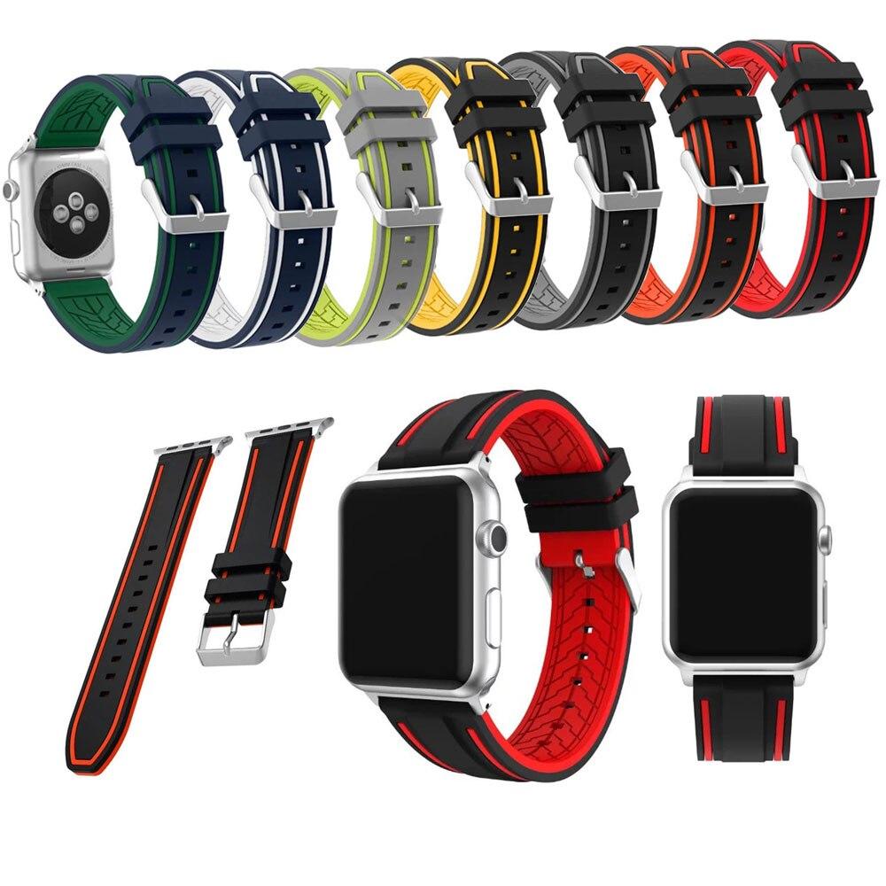 Curea de brățară din silicon mixt dublu culoare pentru Apple Watch Band Seria 3/2/1 42mm și 38mm Curea sport Înlocuirea centurii de ceas inteligent