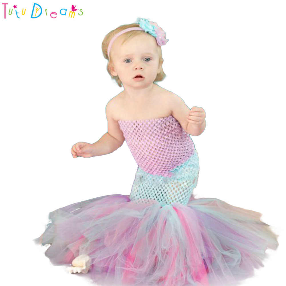 0ac649bdd A Set Mermaid Sea Princess Girl Fishtail Tutu Dress Newborn Baby Kids Girls  Pink Purple Aqua