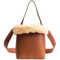 Women Cute Fur Bucket Bag Handbag Pythons Wide Straps Furry Shoulder Messenger Bag Top Handle Cross