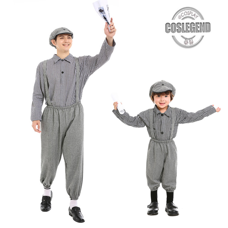 Child and Adult Deluxe 50's Old Fashion Newsboy Cosplay Costume Family Halloween Fun Suit