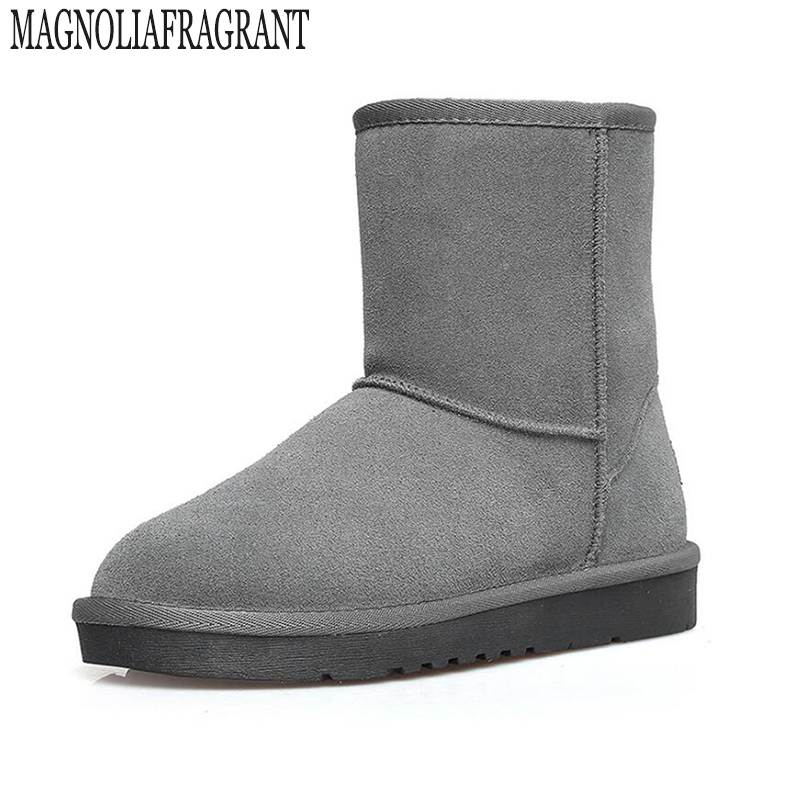 Free Shipping New Arrival 100% Real Classic Mujer Botas Waterproof Genuine Cowhide Leather Snow Boots Winter Shoes for Women k24 цены онлайн