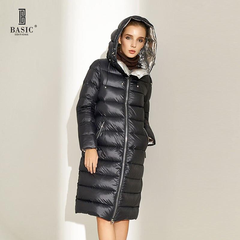 De base Vogue Femmes D'hiver Ultra Léger Puffy Réversible Veste avec Capuche Causual Long Blanc Duvet de Canard Parka Manteau-CCY701116