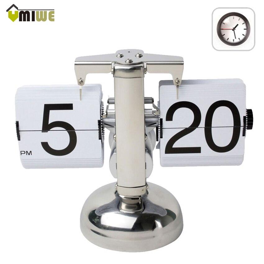 Umiwe Creative rétro Flip Down bureau horloge interne engrenage actionné moderne Page tournant 12 heures AM/PM bureau Table horloge