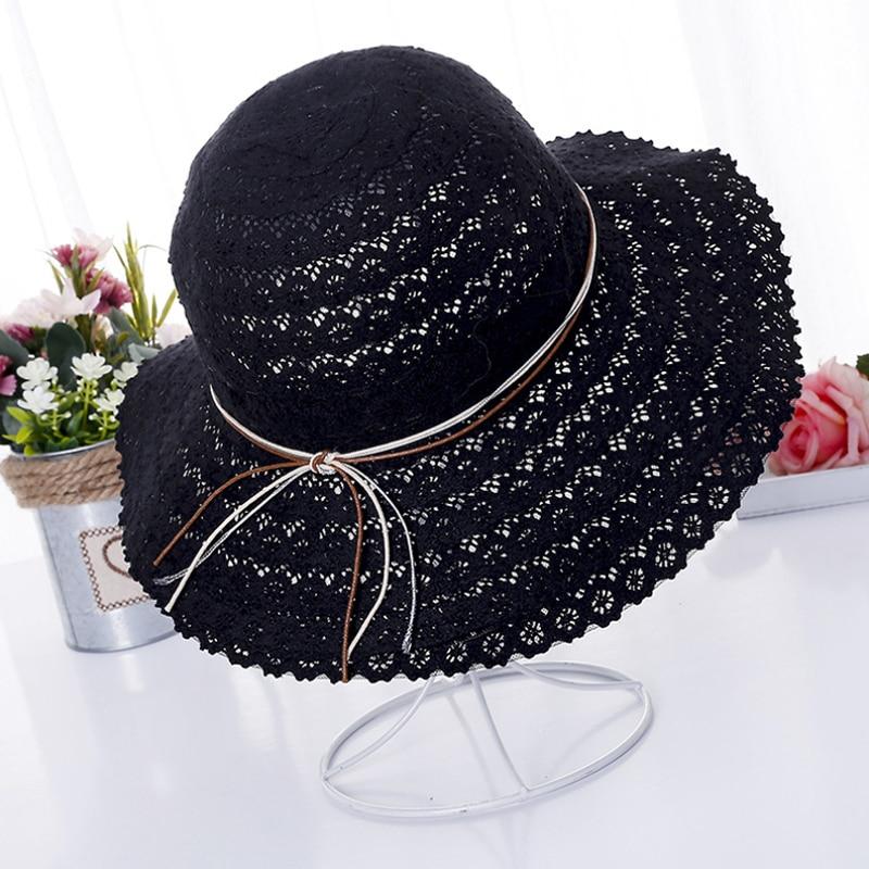 Summer Fashion Foldable Bucket Cap Cotton Beach Bow Sun Hats For Women Fashion Women Beach Sun Hat Foldable Brimmed Straw Hat