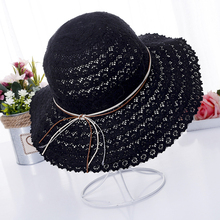 Summer fashion Foldable Bucket cap Cotton Beach bow sun hats for Women Fashion Sun Hat Brimmed Straw