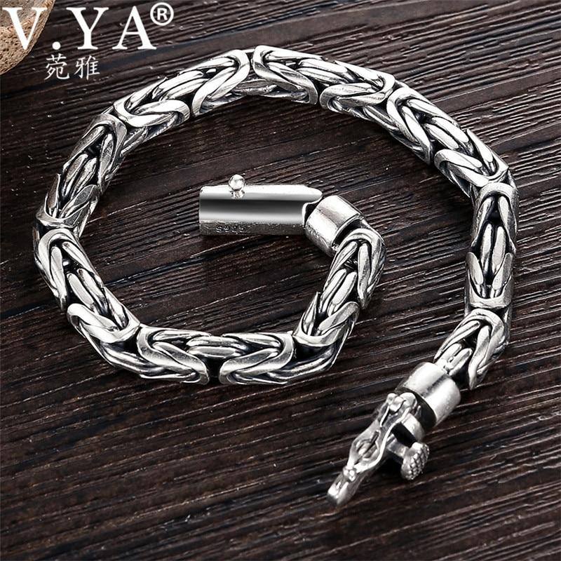 V YA Solid 925 Sterling Silver Bracelets for Men Cool Punk Style 5 8mm Heavy bracelet