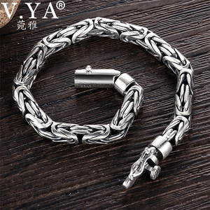 Image 1 - V.YA Solid 925 Sterling Silver Bracelets for Men Cool Punk Style 5 8mm Heavy bracelet argent homme Mens Jewelry BY028