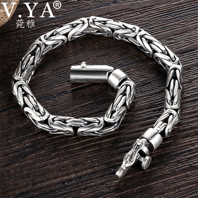 V.YA Solid 925 Sterling Silver Bracelets for Men Cool Punk Style 5 8mm Heavy bracelet argent homme Mens Jewelry BY028