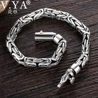 V.YA Solid 925 Sterling Silver Bracelets for Men Cool Punk Style 5 8mm Heavy bracelet argent homme Men's Jewelry BY028