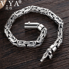 V.YA pulsera de plata sólida 925 estilo Punk para hombre, brazalete pesado de 5 8mm, joyería para hombre, BY028
