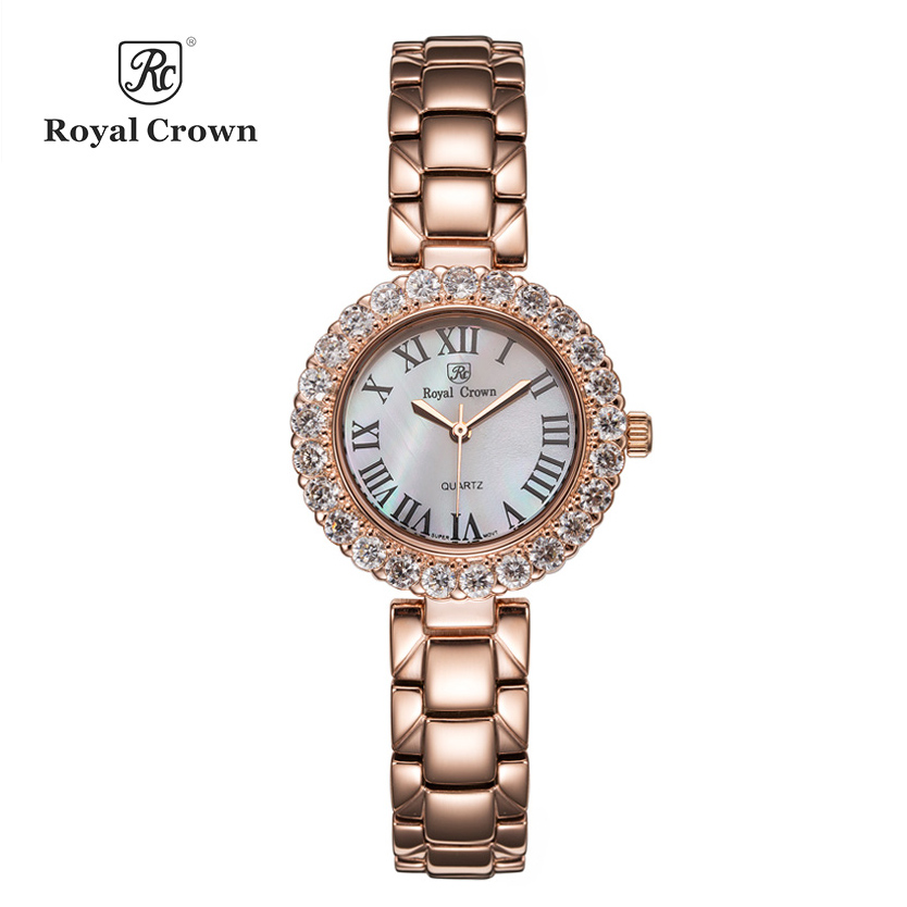 Luxury Jewelry Lady Women's Watch Fine Fashion Hours Stainless Steel Bracelet Rhinestone Gold Plated Girl Gift Royal Crown Box super speed v0169 fashionable silicone band men s quartz analog wrist watch blue 1 x lr626
