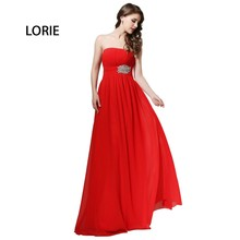 LORIE Crimson Night Gown 2017 Strapless A-Line Backless Chiffon Low cost Lengthy Promenade Gown Particular Event Occasion Gown Free Transport