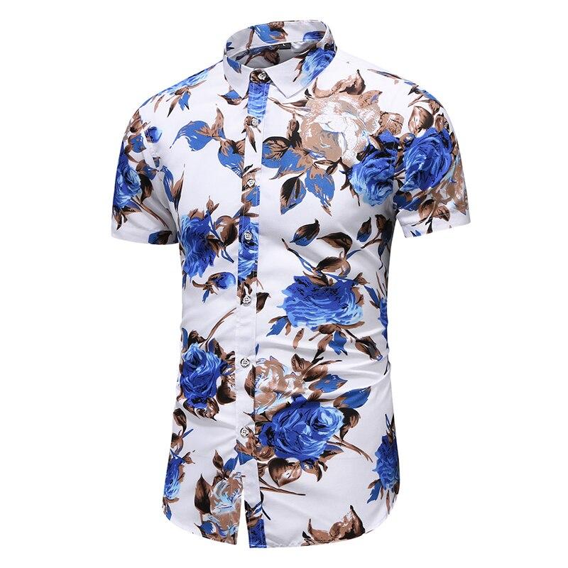 M-6XL 7XL mens shirts casual slim fit hawaiian shirt men summer new style print short sleeve designer shirt men high quality
