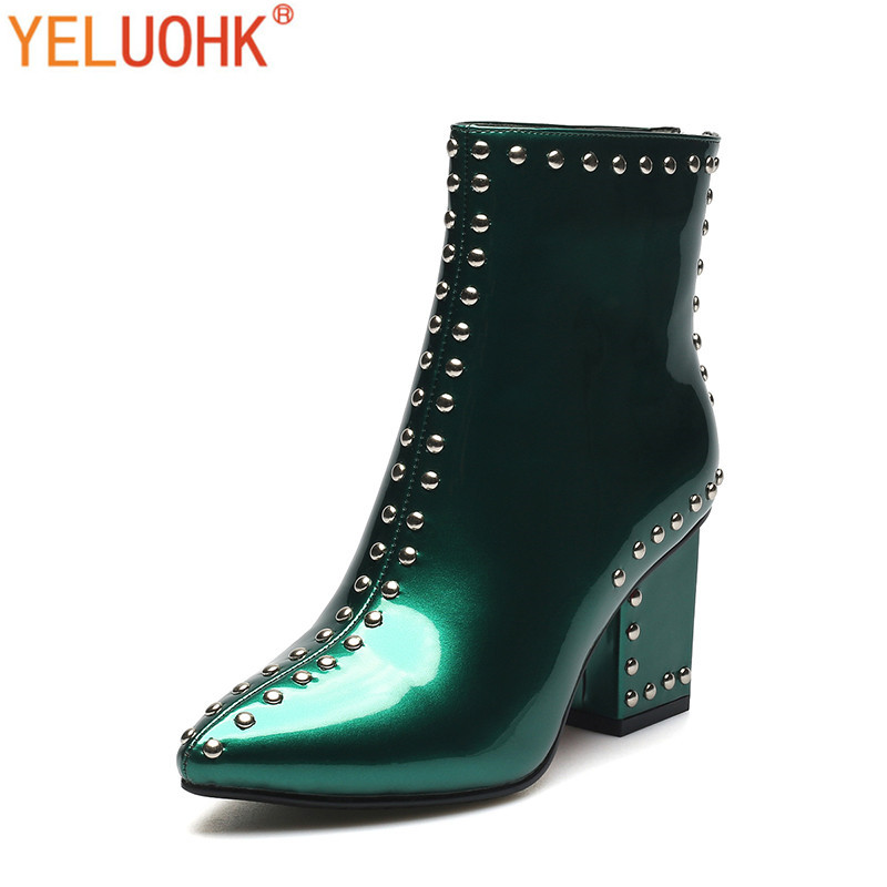 Rivet Ankle Boots For Women Patent Leather Women Winter Boots Plush High Quality High Boots Women женские ботинки dx32 d32 ankle boots