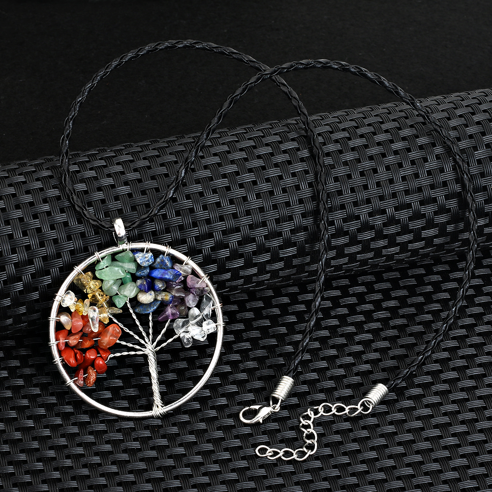 Liujun brand meaning blessing lucky tree of life pendant necklace liujun brand meaning blessing lucky tree of life pendant necklace quartz women multicolor rainbow chakra natural stone necklace in pendants from jewelry mozeypictures Image collections