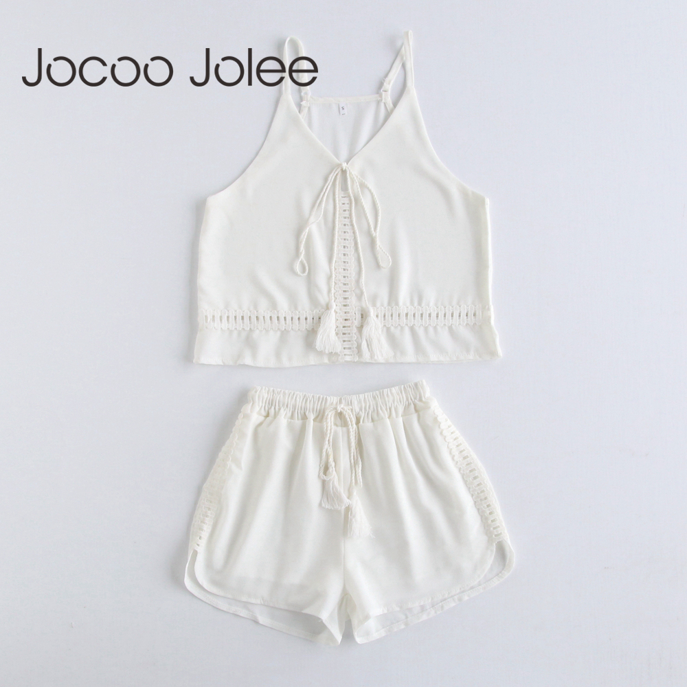 Jocoo Jolee Sexy Hollow Out 2Pcs Suit Sets Solid Sling Loose Wide Leg Rompers Casual Cropped Top High Waist Elastic Mini Shorts