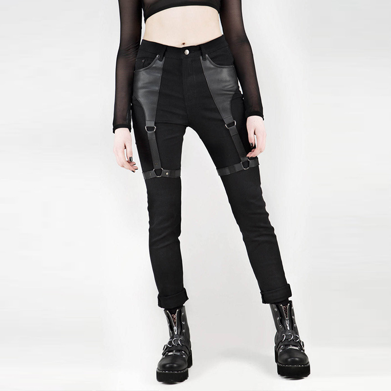 Gothic Women Pants Pu Leather Pachwork Iron Ring Punk Rock Skinny Pencil Pants 2019 Cool Chic Women Streetwear Black Pencil Pant