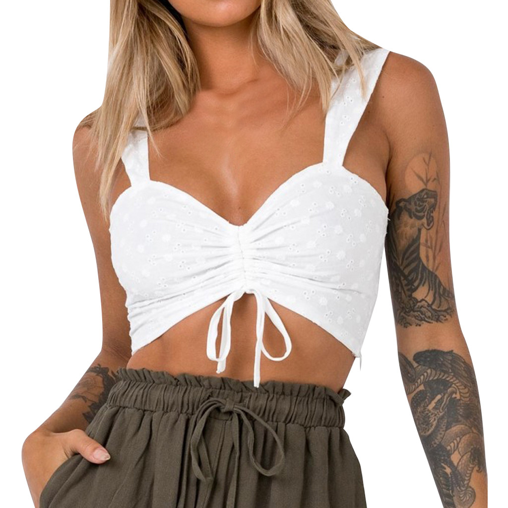 &40 Women Sexy Crop Top White V-Neck Ruched Ribbons Backless Casual Crop Camis Top Cropped Feminino Top Mujer Sexy Top Crop