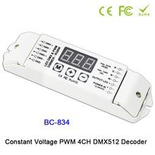 BC-832/BC-833/BC-834 DC12V 24V CV PWM DMX512/1990 2CH 3CH 4CH LED decoder Controller for 5050 WW CW/RGB /RGBW led lamp strip