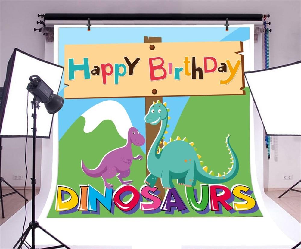 Laeacco Cartoon Dinosaurus Baby Verjaardag Kind Feest Fotografische - Camera en foto - Foto 3